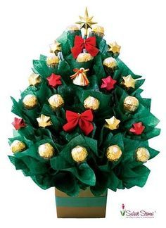 Christmas Tree Chocolate Bouquet | Florist Sydney Melbourne Brisbane Canberra Adelaide Perth Darwin Hobart Australia...ah look at that! I'd love someone to send me one of these!