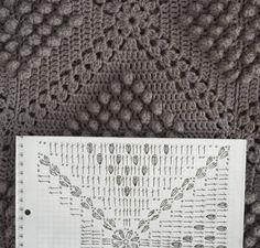 Häkeldecke AnaZard (chart) - popcorn blanket (you'll find the english pattern here: http://byhaafner.blogspot.co.il/2013/08/pattern-popcorn-blanket.html