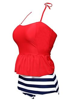 c2663f0185 Women s Athletic Swimwear - Bandea Womens Halter High Waist Peplum Two  Piece Swimsuits   More info