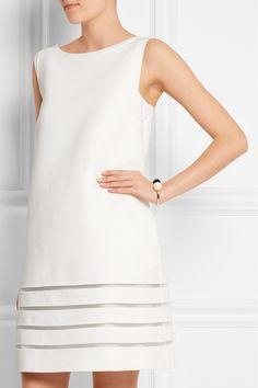 Fendi|Mini-robe en crêpe de coton à empiècements en résille|NET-A-PORTER.COM