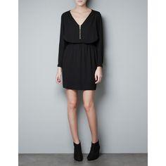 Zara Zip Neck Dress ($60) via Polyvore