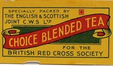 Red Cross on Tea Label, c. 1945 June 3, 2013  To show co-operative support for the Red Cross' work, the English and Scottish Joint CWS designed a special tea label which societies could order to contribute to the charity.   In addition to such actions CWS donated to numerous wartime causes, donating more than £25,000 to charitable organisations at home and abroad, as well as £50,000 to the ICA to help rebuild postwar co-operative movements