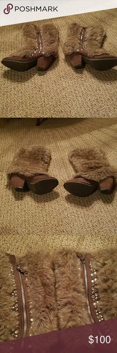Boots Brown suede leather bottom....top fur....zip on outside of boot...gems up sides by zipper....no missing gems....no scuffing ...etc....worn once....just not into heels.....excellent like new condition ..Bought at the Buckle Shoes Heeled Boots