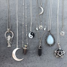 Bohogrunge necklaces from blackmoon #moon #crystal #ganesh #pentagram