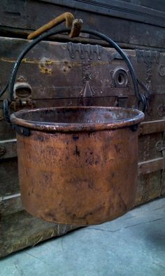 Kitchen Antique Copper Cauldron. Look for hook & stand for pot.