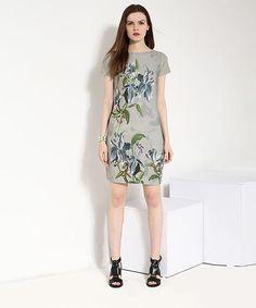 Yepme Floral Print T-Shirt Dress - Grey