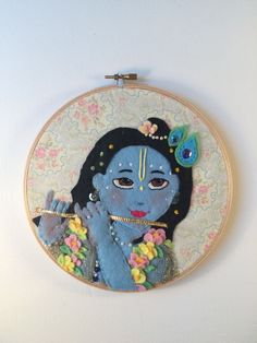 Deliciously lovable Krishna hoop art perfect by RememberKrishna Sweetly embroidered hoop in felt and fabric craft bonanza don't mind me pinning my own art... Cheesy grins I hope it's as cute as I think it is!