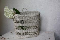 Vintage White Hanging Farmhouse Basket