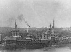 West Side of the Grand River in 1911. St. Mary's Church is on the left.