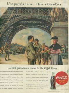 Coca-Cola around the world, World War II American soldiers in France, Coca-Cola ad 1945 – Adbranch