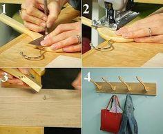 Uma ideia para fazer um gancho para a parede usando cabides de madeira! Original e funcional - você não acha?