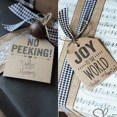 No Peeking and Joy to the World Gift Tags: These cute gift tags will look amazing printed on kraft paper! Source: Shanty 2 Chic