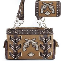 This item sell at HandbagLoverUSA.com New Arrival Two Gun Cross Rhinestone Studded Western Woven Tote Satchel Handbag Purse with Wallet in Light Coffee Brown: Clothing $51.99