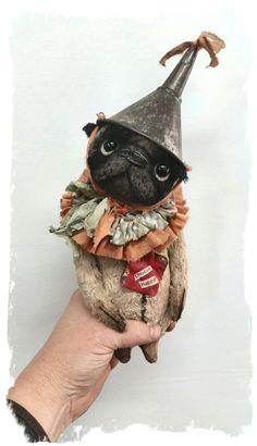"Image of CHOOSE HAPPY - Pug - Dog - 7"" size * By Whendi's Bears"