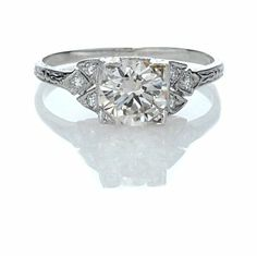 Leigh Jay Nacht Inc. - Replica Art Deco Engagement Ring - 1312-03