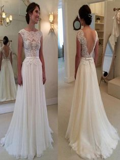 Buy Simple-dress Elegant Cowl Lace Backless 2015 Long Chiffon Wedding Dresses/Bridal Gown CHWD-70782 Wedding Apparel under US$ 162.99 only in SimpleDress.