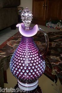VINTAGE, PRE-LOGO FENTON ART GLASS  NO. 3761, PLUM OPALESCENT HOBNAIL HANDLED DECANTER  FENTON ONLY PRODUCED THIS PIECE IN THE YEAR OF 1960 AND DISCONTINUED IN THE YEAR OF 1963 Z