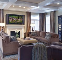 Contemporary Living Room Blue Brown Design, Pictures, Remodel, Decor and Ideas - page 4