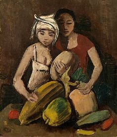Two Girls With Fruit. Karl Hofer.