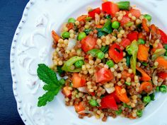 ptitim with fresh vegetables (great with feta, mint, kalamatas and heirloom tomatoes)