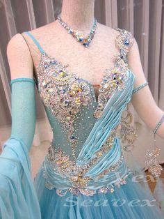 Everday Ballroom Watlz Tango Standard Dance Dress US 6 UK 8 Light Blue Sliver