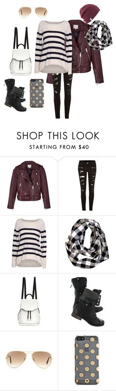 """""""Bad weather for days"""" by beauty-lays-within ❤ liked on Polyvore featuring Reiss, River Island, Velvet by Graham & Spencer, rag & bone, Ray-Ban, Kate Spade and Coal"""