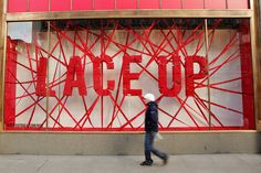 Lace Up Save Lives, Nike among the winning retail window displays: visual merchandising at its best! Window Display Design, Shop Window Displays, Store Displays, Display Windows, Retail Windows, Store Windows, Environmental Design, Environmental Graphics, Visual Merchandising