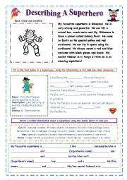 English Worksheets: Describe a Superhero (easy)