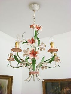 GORGEOUS PINK FLOWERS VTG FRENCH TOLE TOLEWARE CHANDELIER LIGHT LAMP #FlowerShop Floral Chandelier, Lamp Light, Toleware, French Tole, Italian Chandelier, Pink Flowers, Chandelier, Bohemian Decor, Chandelier Lighting