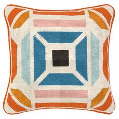 Trina Turk Novato Orange/Blue Needlepoint Pillow PH30TT96DC12SQ