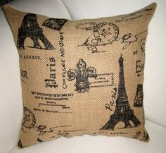 French Eiffel Tower Script Burlap Pillow by frenchcountrydesigns, $17.99