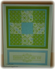 handmade card from FireFly's Cards .... quilt card ... simple nine patch with beautiful coordinating papers ... lovely!