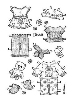 Karen`s Paper Dolls: Ditte 1-5 Paper Doll to Print and Colour. Ditte 1-5…