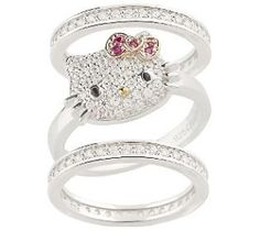 A/O Hello Kitty Diamonique Sterling Luxe Kitty Stack Ring...