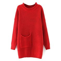 Round Neck Pocket Long Batwing Sleeve Plain Long Sweater (1.505 RUB) ❤ liked on Polyvore featuring tops, sweaters, dresses, beautifulhalo, jumpers, pocket tops, round neck sweater, bat sleeve sweater, red jumper and long sleeve batwing top