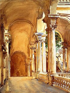 John Singer Sargent. A lot of Sargent in here too -- combo of Orientalist panache, beautiful light, beautiful construction of space...
