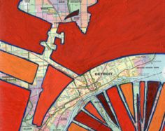 ...  madison height, grosse pointe park-print of map painting with bike.