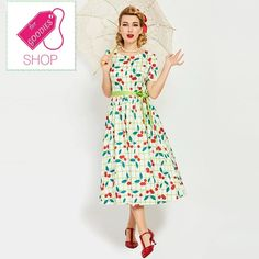 Specifics  Gender	Women  Dresses Length	Knee-Length/Midi   Silhouette	A-Line  Season	Summer  Style	Vintage  Material	Polyester  Sleeve Style	Regular  Neckline	O-Neck  Pattern Type	Print  Sleeve Length	Short  Waistline	Natural  Decoration	Sashes  material	cotton blends | Shop this product here: http://spreesy.com/shopforgoodies/853 | Shop all of our products at http://spreesy.com/shopforgoodies    | Pinterest selling powered by Spreesy.com