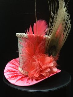 Tan Peacock and Pink Mad Hatter Mini Top Hat by daisyleedesign