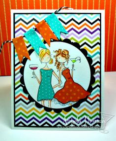 Card I made using Victoria and Juliette's night out from Stamping Bella