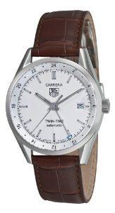 TAG Heuer Men's WV2116.FC6181 Carerra Calibre 7 Twin Time Automatic White Dial Brown Crocodile Watch  $2,145.00  #TAGHeuerWatches