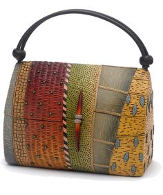 Kathleen Dustin Wearable Objet D'Art : handbags and jewelry in alternative materials. Polymer Clay Projects, Polymer Clay Art, Polymer Clay Jewelry, Ethno Style, Fabric Bags, Clay Beads, Clay Creations, Beautiful Bags, Purses And Handbags