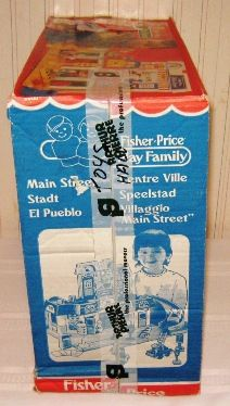 Vintage Fisher Price Main Street - box side 1 Jouets Fisher Price, Vintage Fisher Price, Main Street, Maine, Box, Snare Drum, Boxes