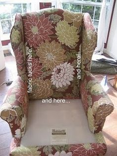 How to reupholster a wing back chair:  Part 2 - putting it back together. (again... great tutorial with pics)