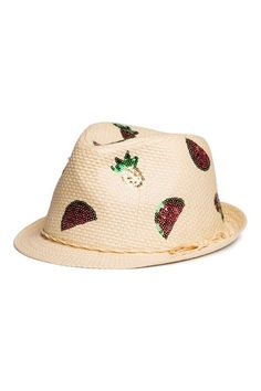 H M Straw Hat with Sequins Sequins 0a67dcd4f76f