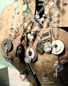 {Bees Knees Bungalow}: Jewels In The Garage. Jewelry Crafts, Jewelry Art, Vintage Jewelry, Jewelry Design, Jewelry Ideas, Hardware Jewelry, Bees Knees, Making Ideas, Jewelery