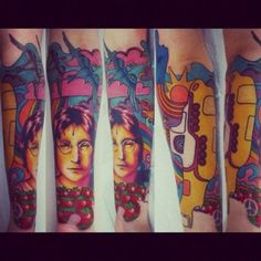 My Beatle arm, inspired by Beatles' songs, like Yellow Submarine, Strawberry Fields Forever, Blackbird, Here Comes The Sun/Sun King and also Paul McCartney & Wings' Bluebird. John Lennon's face was done previously by an amazing artist calledPolska Kudlinski, Santos - Brazil. All the rest wasdone by the awesomeChristian Ribeiro, São Paulo - Brazil.Peace!
