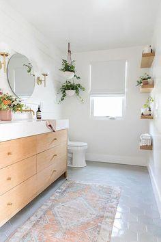 bathroom designed by sarah sherman samuel - thick edge, light wood cabinets   bathroomideas Bathroom 05a586ebc61