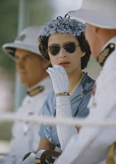 A young Princess Margaret wearing some rather stylish sunglasses.