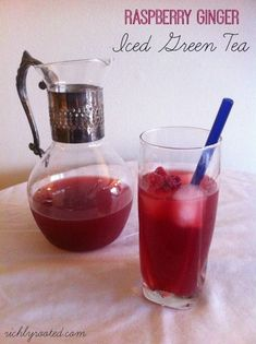Here's a refreshing iced green tea flavoured with fresh red raspberries and ginger, and sweetened with raw honey. Serve over ice on a hot summer day.